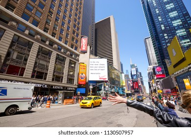 New York, USA - MAY 24: Times Square, featured with Broadway Theaters and animated LED signs, is a symbol of New York City and the United States, May 24, 2015 in Manhattan, New York City.