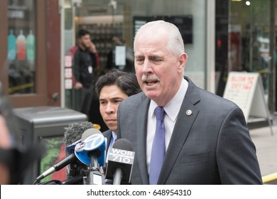 New York, USA - May 24, 2017: James O'Neill, NYPD Commissioner addresses journalists, after that a 16-year-old boy stabbed and slashed four of his classmates outside a Midtown school
