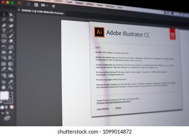 New york, USA - May 25, 2018: Adobe illustrator menu on laptop screen close up