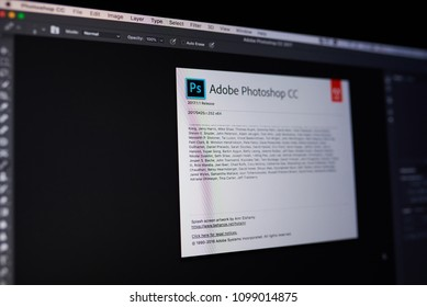New york, USA - May 25, 2018: Adobe photoshop menu on laptop screen close up view