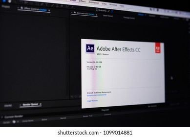 New york, USA - May 25, 2018: Adobe after effect menu on laptop screen close up