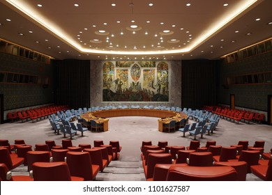 NEW YORK, USA - MAY 25 2018 - United Nations security council hall  headquartered in New York City, in a complex designed by architect Niemeyer open to public