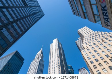 New York, USA - May 25, 2018: View of skyscrapers in New York City against clear blue sky