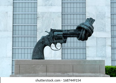 NEW YORK, USA - MAY 25 2018 - knot gun sculpture no war United Nations headquartered in a complex designed by architect Oscar Niemeyer open to public