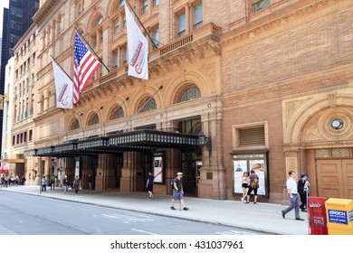 New York, USA- May 25, 2016: Carnegie Hall: Carnegie Hall is a concert venue in Midtown Manhattan in New York City, Built by philanthropist Andrew Carnegie in 1891
