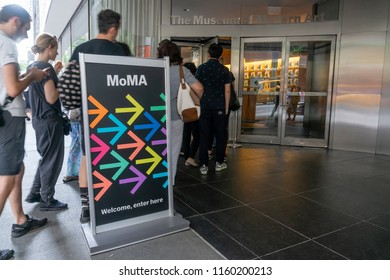 New York, USA - May 26, 2018: People visiting the Museum of Modern Art MoMA in New York City. It is an art museum of modern and contemporary art.