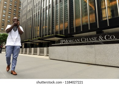 New York, USA - May 26, 2018: A man pass near JPMorgan Chase & Co office at the Park Ave in New York, NY.
