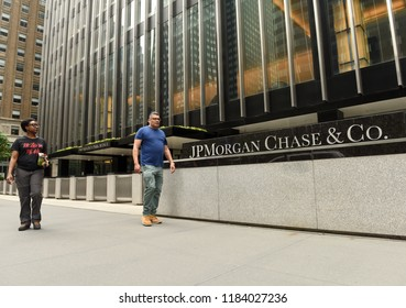 New York, USA - May 26, 2018: People walk near JPMorgan Chase & Co office at the Park Ave in New York, NY.