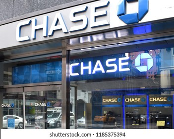 New York, USA - May 26, 2018: Chase Bank in New York, NY.