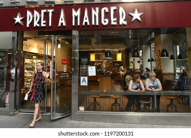 New York, USA - May 26, 2018: People in fast casual restaurant Pret A Manger in Manhattan in New York.