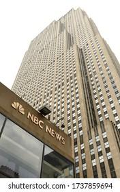 New York, USA - May 26, 2018: NBC Studios in the historic 30 Rockefeller Plaza in New York City.