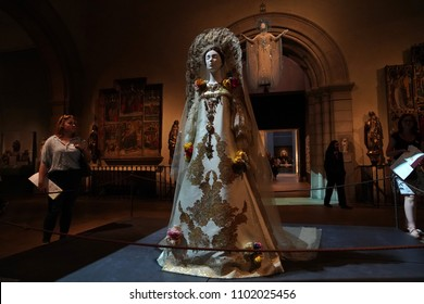 NEW YORK, USA - MAY 27 2018 - Heavenly Bodies: Fashion and the Catholic Imagination at Met museum features a dialogue between fashion and medieval art