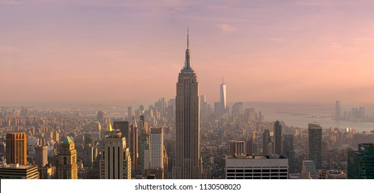 New York, USA - May 27, 2015: New York City Manhattan Midtown view with Empire State Building. May 27, 2015 New York City, USA.