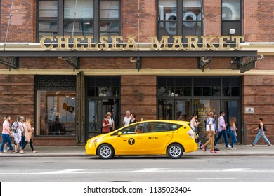 New York, USA - May 27, 2018: People visiting Chelsea Market in New York City. It is a food hall and shopping mall located in Manhattan.