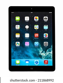 New York, USA - May 27, 2014: Apple iPad mini displaying iOS 7.1 homescreen. iOS 7.1 operating system designed by Apple Inc. official output 10 March 2014. iPad mini is a tablet produced by Apple Inc.