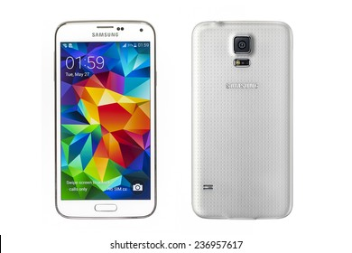 """New York, USA - May 27, 2014: Front and back view of a white Samsung Galaxy S5 smartphones. Samsung Galaxy S5 is supported with 5.1"""" touch screen display and 1920 x 1080 pixels resolution."""