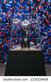 NEW YORK, USA - MAY 28, 2018: Superbowl trophy on display in NFL Experience in Times Square, New York, a first-of-its-kind live action attraction, combining interactive games and 4D theatre.