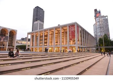 New York, USA - May 29, 2018: People near the David Geffen Hall (New York Philharmonic).