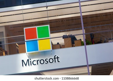 New York, USA - May 3, 2018: Logo of Microsoft store in central Manhattan