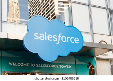 New York, New York, USA - May 30, 2018: Signage on the Salesforce Tower at 6th Avenue.