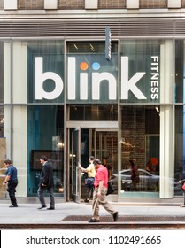 New York, New York, USA - May 30, 2018: A Blink Fitness gym or healthclub in midtown Manhattan.