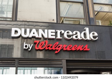 New York, New York, USA - May 30, 2018: A Duane Reade by Walgreens sign over store on Seventh Avenue.