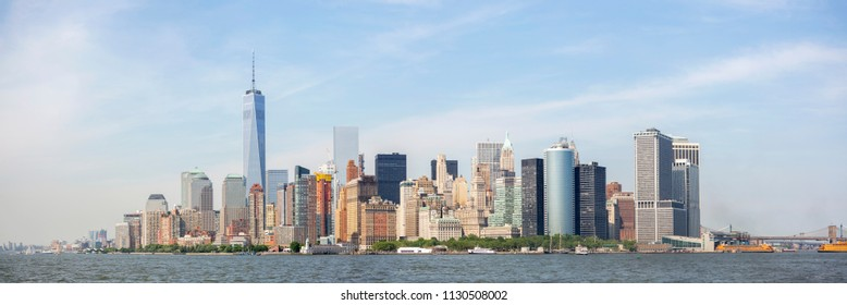New York, USA - MAY 30 2015: Panoramic view of New York City skyline, Manhattan View from Statue of Liberty.  May 30, 2015 New York City, USA.