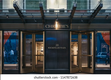 New York, USA - May 30, 2018: Entrance to Christie's salesroom in Midtown Manhattan, New York. Founded in 1766 by James Christie, it is one of the most famous auction houses in the world.