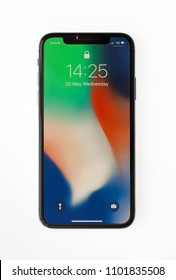 New York, USA- May 30,2017 Studio Shot of iPhone X Space Gray, This is the newest product of Apple with 5.8 inch display. Unlocking of the phone is possible only detection of the owner's face.