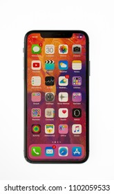 New York, USA- May 30,2018 Studio Shot of iPhone X Space Gray, This is the newest product of Apple with 5.8 inch display. Unlocking of the phone is possible only detection of the owner's face.