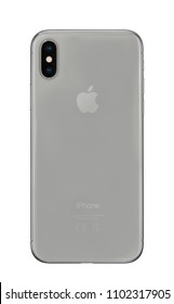 New York, USA- May 30,2018: Rear view of iPhone X Space Gray, This is the newest product of Apple with 5.8 inch display. Unlocking of the phone is possible only detection of the owner's face.