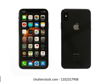 New York, USA- May 30,2018 Front and rear view of iPhone X Space Gray, This is the newest product of Apple with 5.8 inch display. Unlocking of the phone is possible only detection of the owner's face.