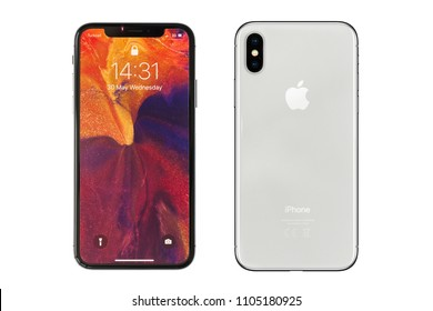 New York, USA- May 30,2018 Front and rear view of iPhone X, This is the newest product of Apple with 5.8 inch display. Unlocking of the phone is possible only detection of the owner's face.