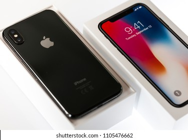 New York, USA- May 30,2018 iPhone X Space Gray in it's box  . This is the newest product of Apple with 5.8 inch display. Unlocking of the phone is possible only detection of the owner's face.