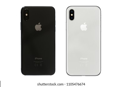 New York, USA- May 30,2018 Rear view of black and white iPhone X . This is the newest product of Apple with 5.8 inch display. Unlocking of the phone is possible only detection of the owner's face.