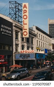New York, USA - May 31, 2018: Sign and facade of Apollo Theatre, an iconic music hall located in the Harlem neighbourhood of Manhattan, New York City.