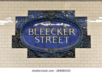 New York, USA - May 31, 2015: Bleecker Street Subway Station on the 6 Line. Part of the MTA of New York City in Manhattan.