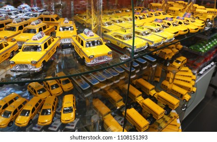 New York, USA - May 4, 2018: Model taxis exposed in a gift shop