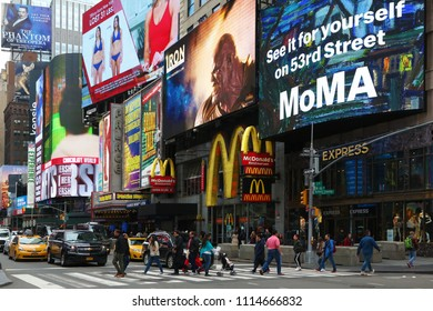 New York, USA - May 4, 2018: Heavy advertising in Times square