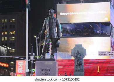 New York, USA - May 6, 2018 : The statue of George m. Cohan with Street signs at Times Square, NYC