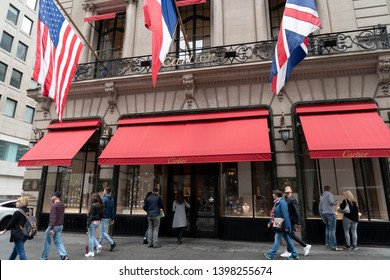 NEW YORK, USA - MAY 6 2019 - Regularly referred to as the most expensive street in the world, Nyc 5th Avenue runs down the center of Midtown Manhattan