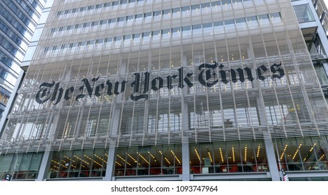 New York, USA - May 7, 2018 : Headquarters of The New York Times, NYC