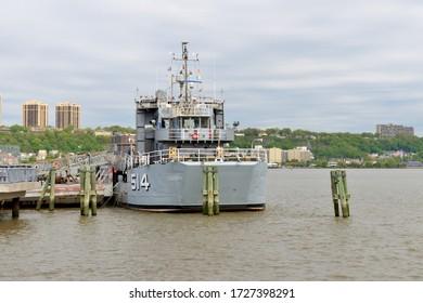 NEW YORK, USA - MAY 7, 2019: Baylander (IX-514), moored at West Harlem Piers