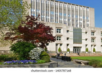 NEW YORK, USA - MAY 8, 2019: New York Columbia University. Uris Hall in spring