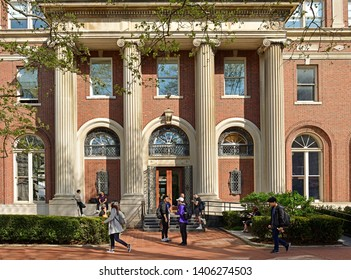NEW YORK, USA - MAY 8, 2019: Avery Architectural and Fine Arts Library, library in Avery Hall on Morningside Heights campus of Columbia University in New York City