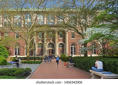 NEW YORK, USA - MAY 8, 2019: Avery Architectural and Fine Arts Library, library in Avery Hall on Morningside Heights campus of Columbia University. Students