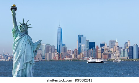 New York, USA - May 9, 2018 : The statue of Liberty with World Trade Center background, Landmarks of New York City.