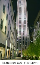 NEW YORK, USA - MAY 9, 2019: 30 Rockefeller Plaza American Art Deco skyscraper that forms centerpiece of Rockefeller Center in Midtown Manhattan at night