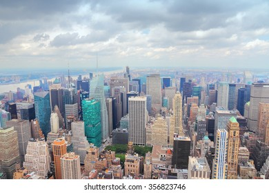 New York, USA - Midtown Manhattan aerial view on cloudy day.