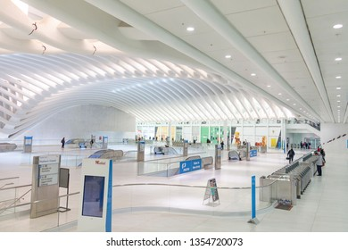 NEW YORK, USA - NOV 5, 2018: THE OCULUS. The Oculus Transportation Hub at new World Trade Center NYC Subway Station. Oculus, the main station house interior view.